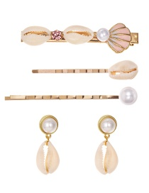 Fashion Gold Alloy Pearl Shell Hairpin Earrings Set Of 5