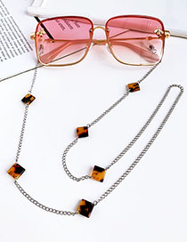 Fashion Yellow Alloy Square Resin Glasses Chain