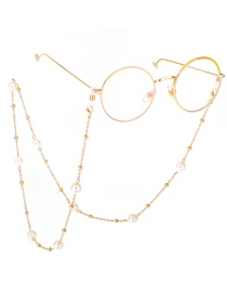 Fashion Gold Pearl Beaded Sweater Chain Glasses Chain Two Models
