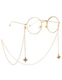 Fashion Gold Metal Diamond Cross Eye Glasses Chain