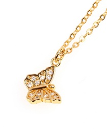 Fashion Butterfly Gold Copper Plated Gold Micro Diamond Necklace