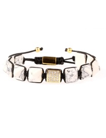 Fashion White Pine Pyramid Conical Stone Gold Plated Full Diamond Color Shell Pull Braided Bracelet