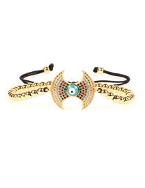 Fashion Gold Micro-inlaid Zircon Drop Oil Eye Color Solid Copper Bead Bracelet