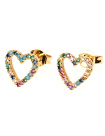 Fashion Gold Hollow Five-pointed Star Zircon Earrings