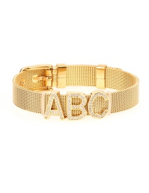 Fashion Gold Titanium Steel Gold-plated Color-protective Mesh Strap Micro-inlaid Zircon Letter Bracelet