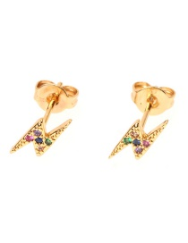 Fashion Gold Micro Inlay Diamond Lightning Zircon Earrings