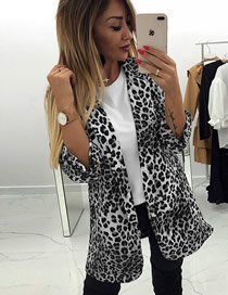 Fashion Black Leopard Print Cropped Sleeves Small Suit