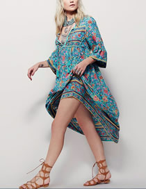 Fashion Green Printed Five-point Sleeve Dress