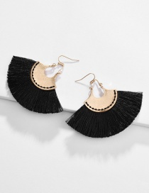 Fashion Black Alloy Fan-shaped Line Ear Fringe Stitch Earrings