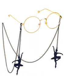 Fashion Black Hanging Neck Ballet Dancer Glasses Chain