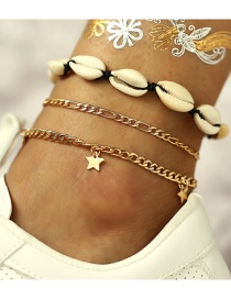 Fashion Gold Shell Five-pointed Star Anklet 3 Piece Set