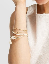 Fashion Gold Shell Fringed Bead Chain Bracelet Five-piece