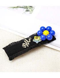 Fashion Black Cloth Raw Edge Crystal Flower Letter Hairpin