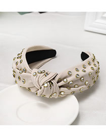 Fashion Beige Wide-brimmed Crystal Diamond Knotted Fabric Headband