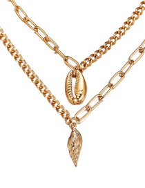 Fashion Gold Shell Conch Double Necklace