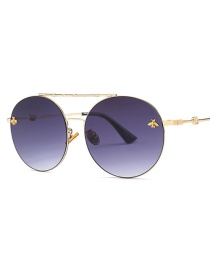 Fashion Gold Frame Gray Piece Double Beam Round Sunglasses