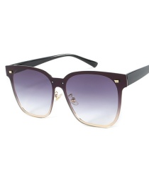 Fashion Black Frame Double Gray Siamese Lens Sunglasses
