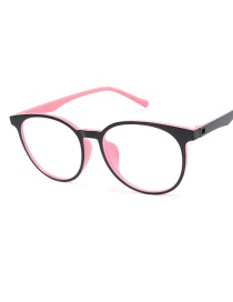 Fashion Black Powder Frame Round Anti-blue Flat Mirror