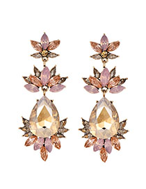 Fashion Champagne Alloy Diamond-drilled Drop-shaped Diamond Stud Earrings