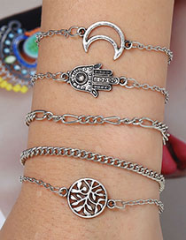 Fashion Silver Alloy Palm Moon Bracelet Set