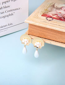 Fashion Gold S925 Silver Needle Drop Shell Pearl Earrings