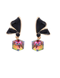 Fashion Black S925 Silver Needle Drop Oil Bow Earrings