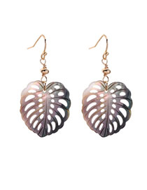 Fashion Black Openwork Leaf Shell Earrings