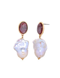 Fashion Red Pearl Natural Stone Earrings