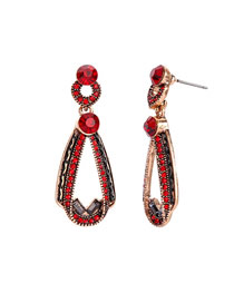 Fashion Red Drop Ear Gemstone Diamond Earrings
