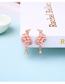 Fashion Champagne S925 Silver Pin Crystal Wings Drop Earrings