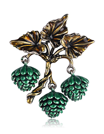 Fashion Green Alloy Drip Pine Cone Brooch