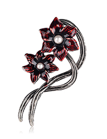 Fashion Red Alloy Drip Flower Brooch