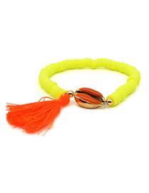 Fashion Fluorescent Yellow Natural Shell Ceramic Bracelet
