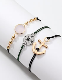 Fashion Silver Alloy Compass Rudder Bracelet Set