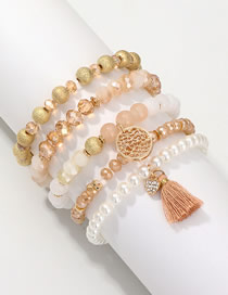 Fashion Gold Acrylic Pearl Pearl Love Tassel Bracelet Set Of 5