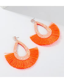 Fashion Orange Tassel Drop Earrings