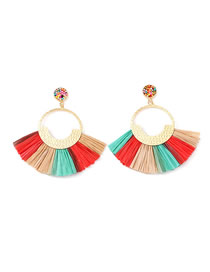 Fashion Color Scalloped Lafite Alloy With Beads Earrings