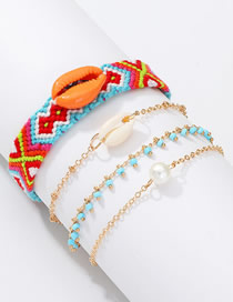 Fashion Color Woven Pearl Shell Bracelet Set Of 4