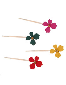 Fashion Rose Green Yellow Red Alloy Flower Hair Clip