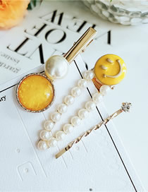 Fashion Yellow Smiley Face Oil Pearl Hairpin Combination