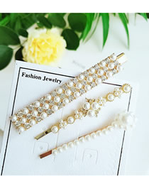 Fashion Yellow Full Diamond Alloy Pearl Hairpin