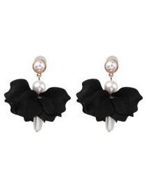 Fashion Black Acrylic Flower Pearl Earrings