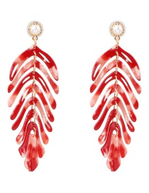 Fashion Red Acrylic Leaf Earrings