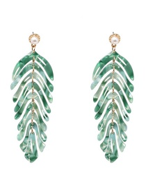 Fashion Green Acrylic Leaf Earrings