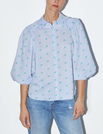 Fashion Light Blue Striped Printed Shirt