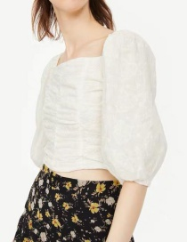 Fashion White Square Collar Hook Flower Embroidered Blouse