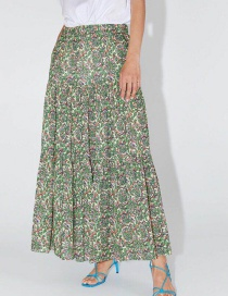 Fashion Green Printed Pleated Skirt