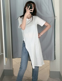 Fashion White Side Slit Buttoned Two Dress T-shirt
