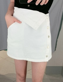 Fashion White Cuffed Cowboy A Word Skirt