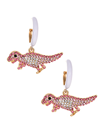 Fashion Pink Alloy Diamond Dinosaur Earrings